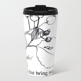 Near the origin of apples: a pen & ink drawing from Cyprus Metal Travel Mug