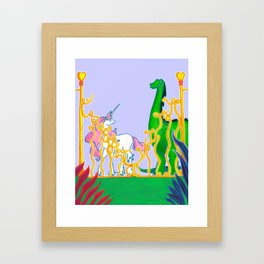 Eden of Creativity { The Unicorn & The Dinosaur } Framed Art Print