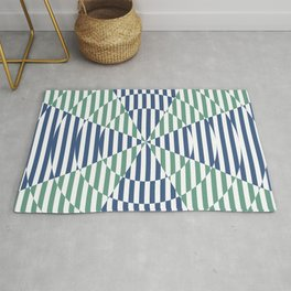 Crossing the lines - the blue and green optical illusion Rug