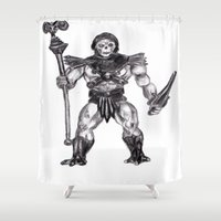skeletor Shower Curtains featuring Skeletor by Furry Turtle Creations