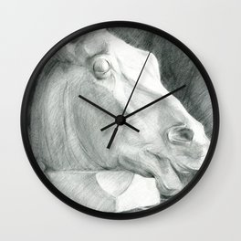 Portrait of a sculptural head of a horse, drawing with a graphite pencil Wall Clock