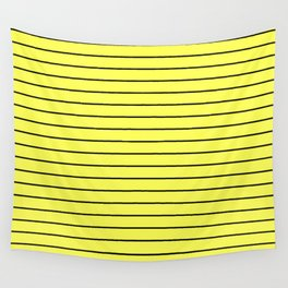 Black Lines On Yellow Wall Tapestry