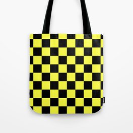 Black and Yellow Checkerboard Pattern Tote Bag