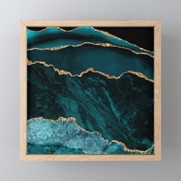 Teal Blue Emerald Marble Landscapes Framed Mini Art Print