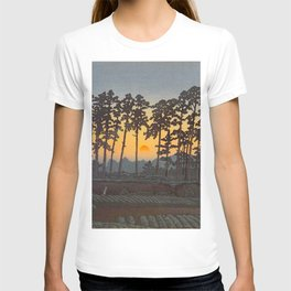Japanese Woodblock Print Morning Sunrise Farm Tree Silhouette T-shirt