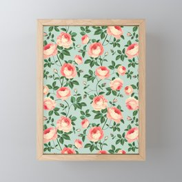 Roses on Turquoise Framed Mini Art Print