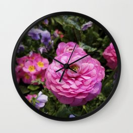 Spring Rosy Ranunculus And Primrose With Violet Violas Wall Clock