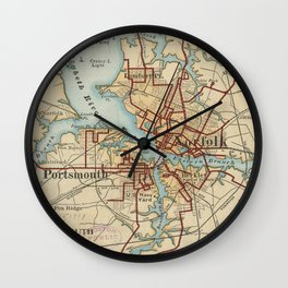 Vintage Map of Norfolk and Portsmouth VA (1919) Wall Clock