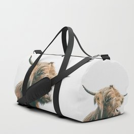 Majestic Highland cow portrait Duffle Bag