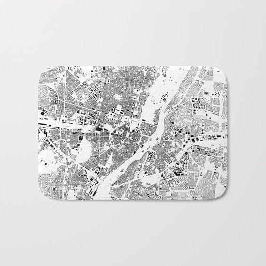 Munich Map Schwarzplan Only Buildings Bath Mat