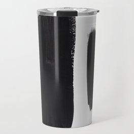 Black And White Minimalist Mid Century Abstract Ink Art Minimal Brush Strokes Black Color Block Travel Mug