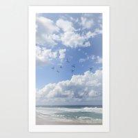 Window Curtains - Flying Away Art Print