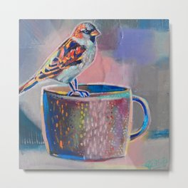 sparrow with earthenware cup Metal Print