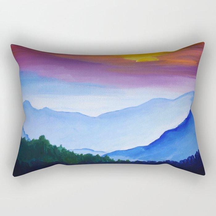 Smokey Mountain Sunset Rectangular Pillow