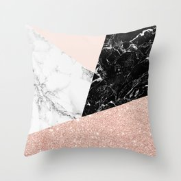 Black white marble blush pink rose gold glitter color block Throw Pillow