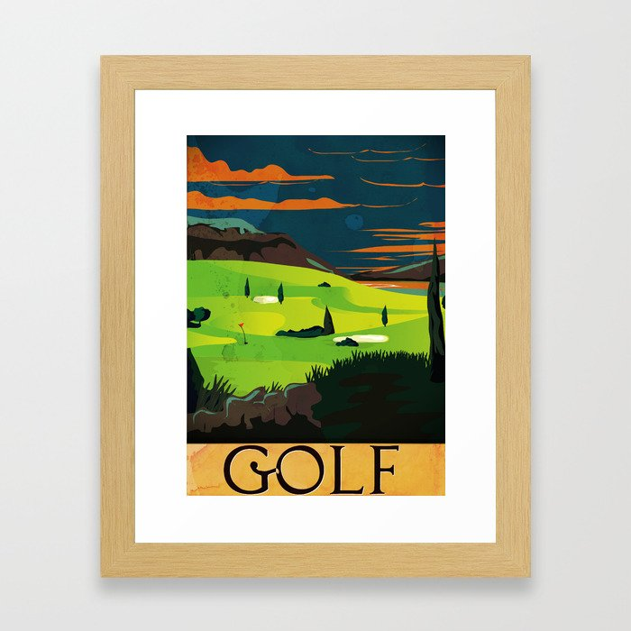 Golf Vintage Poster Framed Art Print