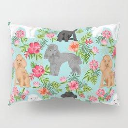 Toy Poodle dog breed pet portraits hawaiian floral flowers dog pattern custom dog lover art Pillow Sham