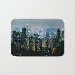 Hong Kong Night Panorama Bath Mat