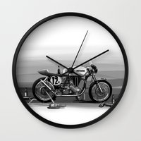 cafe racer Wall Clocks featuring Beer Savage Vintage Norton Cafe Racer by TCORNELIUS