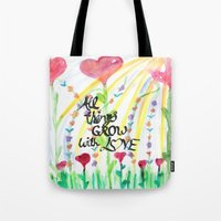 love quotes Tote Bags featuring Love Quotes by Just Creative Julia
