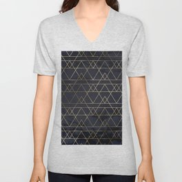 Modern Deco Gold and Marble Geometric Mountains on Navy Blue Unisex V-Neck