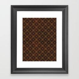 N244 - Brown Golden Geometric Oriental Boho African Moroccan Style Framed Art Print
