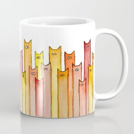 Cats Autumn Colors Pattern Whimsical Cat Orange Red Yellow Animals Coffee Mug