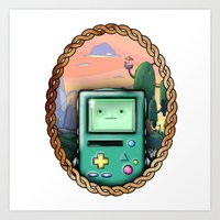 bmo Art Prints featuring BMO!! by SempiternalILLUSTRATIONS