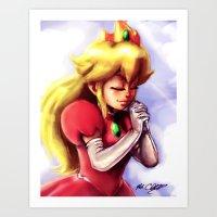 princess peach Art Prints featuring Princess Peach by markclarkii