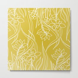 Floral Drawing in Yellow Metal Print