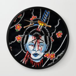Severed Geisha head Wall Clock