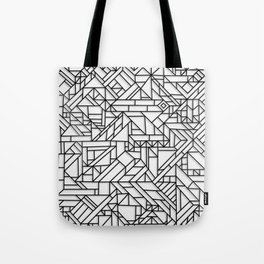 GEOMETRIC BLACK AND WHITE OUTLINES SHAPES MINIMAL MINIMALIST DIGITAL PATTERN Tote Bag