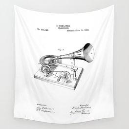 patent art Berliner Gramophone 1895 Wall Tapestry