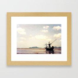 stranded fishing boat, thailand Framed Art Print