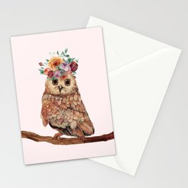Owl with Flowers Stationery Cards