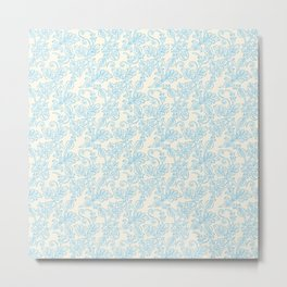 Vintage retro ivory blue shabby floral damask pattern Metal Print