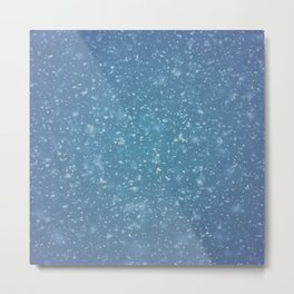 Hand painted blue white watercolor brushstrokes confetti Metal Print
