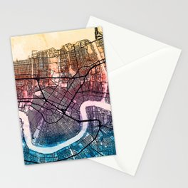 New Orleans Street Map Stationery Cards