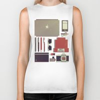 8bit Biker Tanks featuring 8Bit Handbag by Thecansone