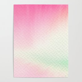 Abstract modern blush pink green watercolor paint Poster