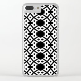 Repeating Circles Black and White Clear iPhone Case