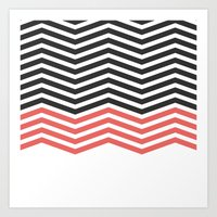 Modern Geometric Chevron Pattern Hip Black Red Art Print