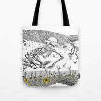 pushing daisies Tote Bags featuring Pushing Up Daisies by Maria Laureno
