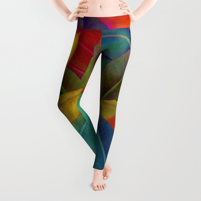 Exotic Leaf Pattern Leggings