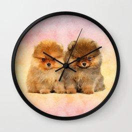 Cute Pomeranian Puppies Wall Clock