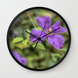 purple Clematis flower Wall Clock