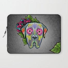 Mastiff in Grey - Day of the Dead Sugar Skull Dog Laptop Sleeve