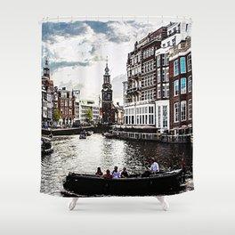 Amsterdam Canals and Fair Weather Clouds Shower Curtain