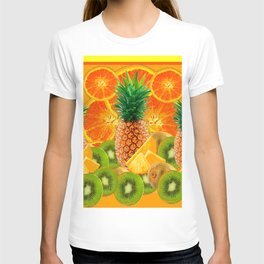 HAWAIIAN PINEAPPLE & ORANGE SLICES GREEN  KIWI FRUIT T-shirt