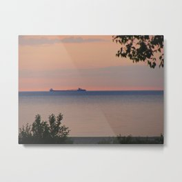 Sunset and Ore Freighter Metal Print